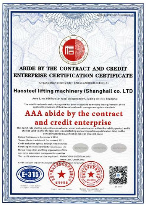 ABIDE BY THE CONTRACT AND CREDIT ENTERPRISE CERTIFICATION CERTUF