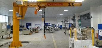 上实交通与豪钢合作两台1t悬臂吊完成调试