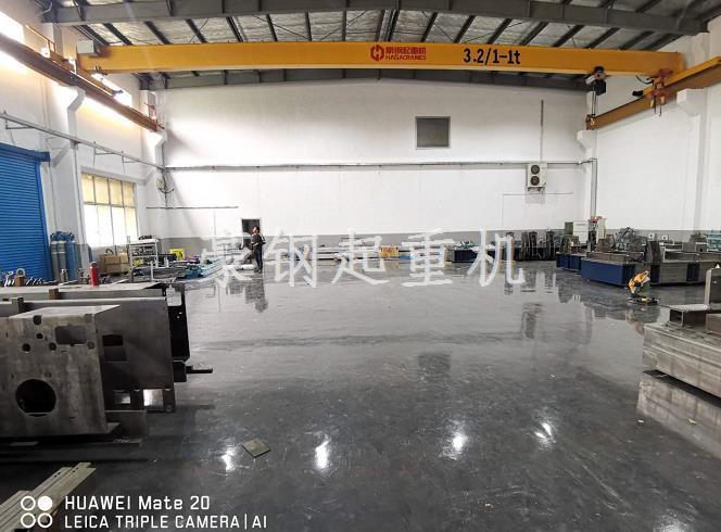 源文兴车料太仓有限公司采购豪钢单梁欧式起重机安装完成