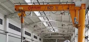 上海上柴向豪钢定购旋臂起重机BZD1t-5m安装完成